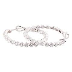 18 Karat White Gold 1.78 Carat Diamond Hoop Earrings