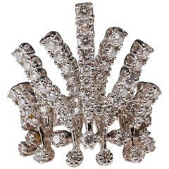 18 Karat White Gold 1.8 Carat Round Cut Diamond Ring Crown Design Fine Jewelry