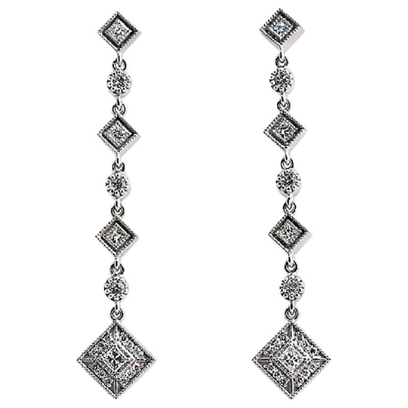 18 Karat White Gold 1.80 Carat Diamonds F VS2 Long Drop Earrings
