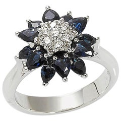 18 Karat White Gold 1.86 Carat Sapphires 0.27 Carat Diamonds Cocktail Ring