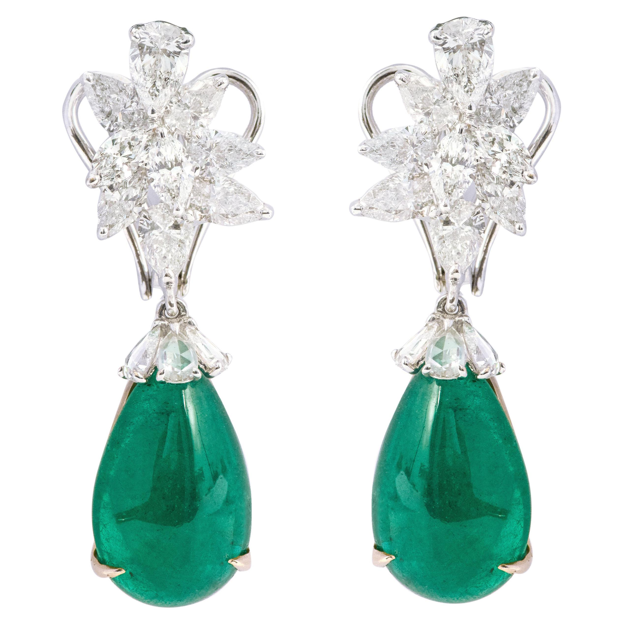 18 Karat White Gold 18.66 Carats Natural Emerald and Diamond Drop Earrings
