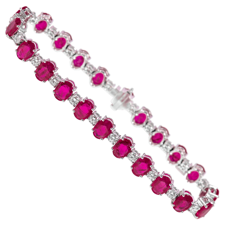 18 Karat White Gold 18.75 Carat Solitaire Ruby and Diamond Tennis Bracelet