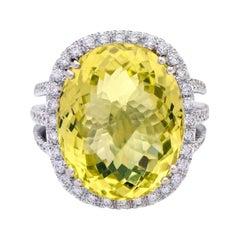 18 Karat White Gold 19.20 Carat Oval-Cut Lemon Topaz and Diamond Cocktail Ring