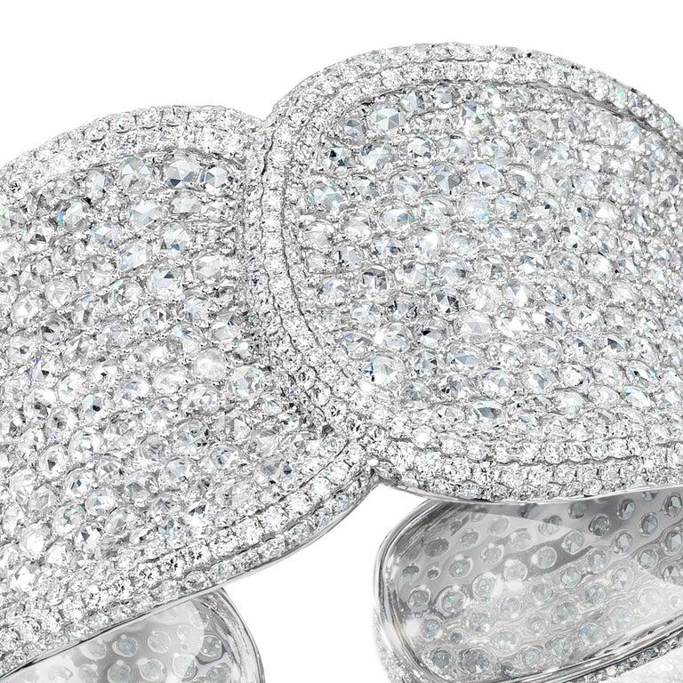 Modern 18 Karat White Gold, 19.42 Carat Rose Cut Diamond Cuff For Sale