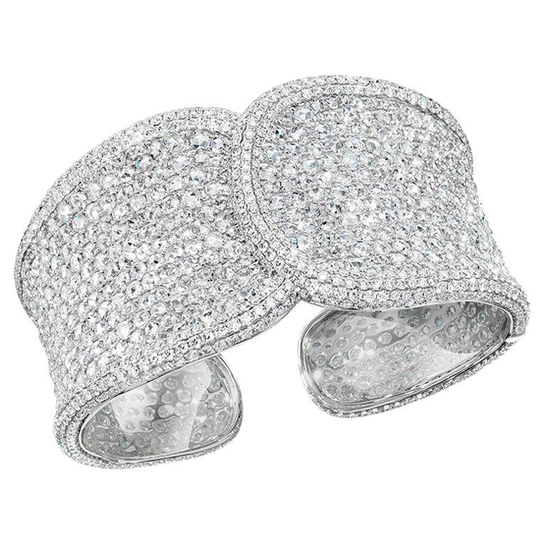 18 Karat White Gold, 19.42 Carat Rose Cut Diamond Cuff For Sale