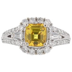 18 Karat White Gold 1.95 Carat Emerald Cut Yellow Sapphire Diamond Ring
