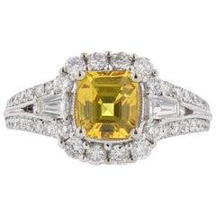 18 Karat White Gold 1.95 Carat Emerald Cut Yellow Sapphire Diamond Ring