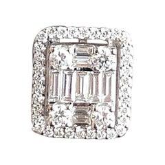 18 Karat White Gold 2.00 Carat Diamond Stud Earrings