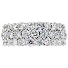 18 Karat White Gold 2.00 Carat Diamond Three-Row Band