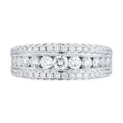18 Karat White Gold 2.00 Carat Genuine Diamond Pave Ladies Ring