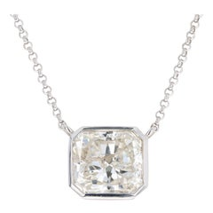 18 Karat White Gold 2.02 Carat Radiant Diamond Bezel Pendant Necklace