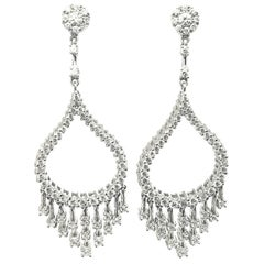 18 Karat White Gold 2.06 Carat White Diamonds Dangle Earrings