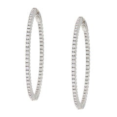 18 Karat White Gold 2.07 Cttw. VS Diamond Grande' Inside Outside Hoop Earrings