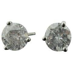 18 Karat White Gold 2.09 Carat Diamond Stud Earrings