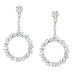18 Karat White Gold 2.15 Carat Diamond Drop Earrings