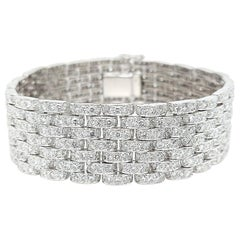 18 Karat White Gold 22.6 Carat Top Quality Mesh Diamond Bracelet