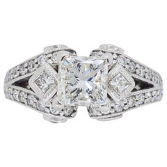 18 Karat White Gold 2.32 Carat Princess Cut Diamond Engagement Ring