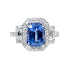18 Karat White Gold 2.36 Carat Sapphire and Diamond Three-Stone Cluster Ring