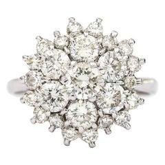18 Karat White Gold 2.40 Carat Diamond Cluster Engagement Ring, I/J Color, VS1