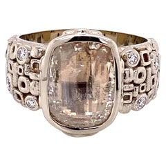 18 Karat White Gold 2.41 Carat Rose Cut Diamond Ring with White Diamonds