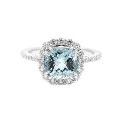 18 Karat White Gold 2.50 Carat Aquamarine Cushion-Cut Diamond Cluster Ring
