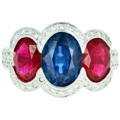 18 Karat White Gold 2.50 Carat Thai Sapphire and Pigeon Blood Ruby Ring