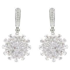 18 Karat White Gold 2.51 Carat Diamond Dangle Earrings Statement