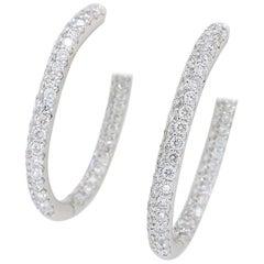 18 Karat White Gold 2.58 Carat Diamond Inside Out Hoop Earrings