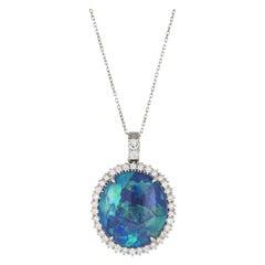 18 Karat White Gold 26 Karat Opal 0.03 Karat Diamond Necklace