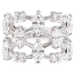18 Karat White Gold 2.63 Carat Diamond Cocktail Half-Band Ring