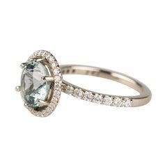18 Karat White Gold 2.66 Carat Blue Green Tourmaline Ring with a Diamond Halo