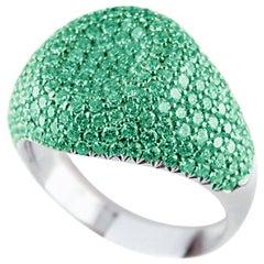 18 Karat White Gold 2.73 Carat Emeralds Pinky Ring