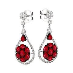 18 Karat White Gold 28 0.2 Karat Ruby 74 0.025 Karat Diamond Drop Earrings