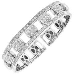 18 Karat White Gold 3 Carat Pavé Set Diamonds Flexible Bangle Bracelet