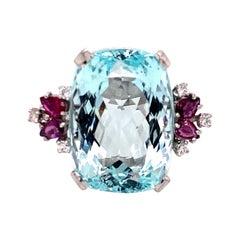 18 Karat White Gold 30 Carat Aquamarine Diamond Ruby Cocktail Ring