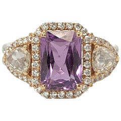 18 Karat White Gold 3.02 Carat No Heat purple Sapphire Diamond Ring