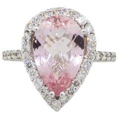 18 Karat White Gold 3.19 Carat Pear Shape Morganite Diamond Halo Ring