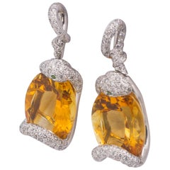 18 Karat White Gold 32 Carat Citrine 1.20 Carat Diamond Pierced Earrings