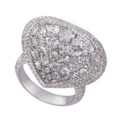 18 Karat White Gold 3.27 Carat Pave Rose Cut Diamond Cocktail Dress Ring