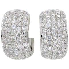 18 Karat White Gold 3.30 Carat Diamond Huggie Hoop Earrings