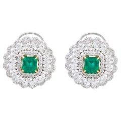 18 Karat White Gold 3.37 Carat Natural Emerald and Diamond Stud Earrings