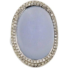 18 Karat White Gold 34.93 Carat Oval Chalcedony & Diamond Ring