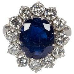 18 Karat White Gold, 3.5 Carat Sapphire and 2 Carat Diamond Cluster Ring, 1950s
