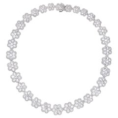Rarever 18K White Gold 36.39cts Rose Cut Diamond Flower Collar Necklace