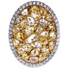 18 Karat White Gold 3.68 Carat Old European Rose Cut Diamond Engagement Ring