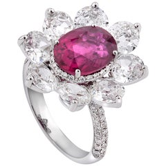 Rarever 18K White Gold 3.69ct Oval Old Cut Ruby and Diamond Ring