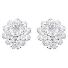 18 Karat White Gold 3.72 Carat Rose-Cut Diamond Stud Earrings