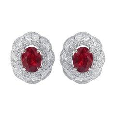 18 Karat White Gold 3.72 Carat Ruby and Diamond Cluster Stud Earrings