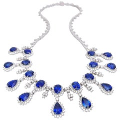 18 Karat White Gold, 37.93 Carat Blue Sapphire and 13.89 Carat Diamond Necklace
