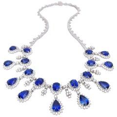 18 Karat White Gold, 37.93 Carat Blue Sapphire and 13.89 Carat Diamond Necklace